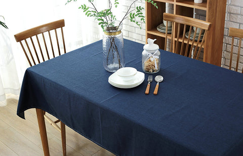 Wimaha Premier Table cloth Solid Cotton and Linen Navy Blue