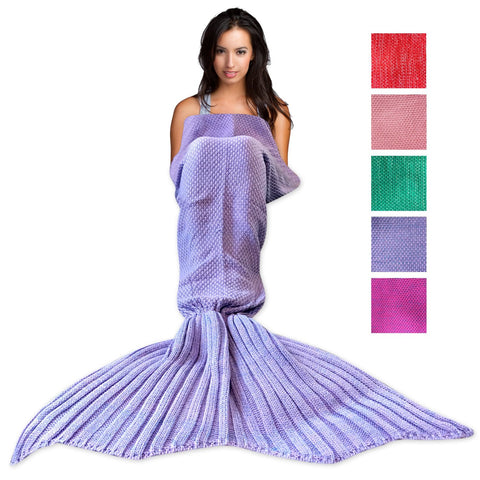 Wimaha Mermaid Blanket Crochet Fleece Light Purple