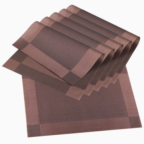 Wimaha Place Mats Set of 6 Wipe Clean Placemats (Brown)