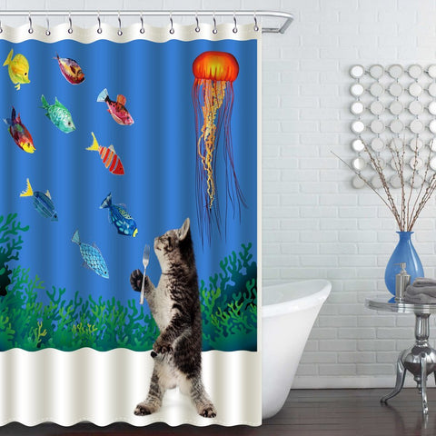 Wimaha 100 Fabric Polyester Shower Curtain Cat Want Fish 72