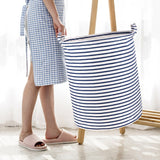 Get 10% off by code-2X2LW5E4- Wimaha White Blue Striped Laundry Basket