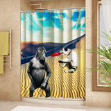 "Wimaha100% polyester shower curtain, gorilla vs dog, (72 ""*72"")"