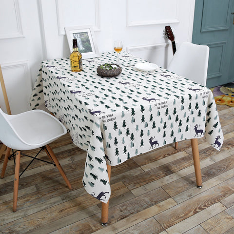 New Arrival!Wimaha Christmas Tree Deer Tablecloth