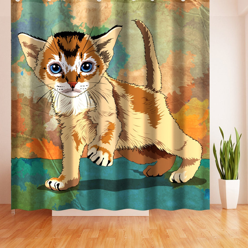 Wimaha Cute Lion Cat Fabric Polyester Shower Curtain Mildew Resistan