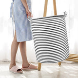 Wimaha White Black Striped Laundry Basket
