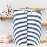 Wimaha White Blue Striped Laundry Basket