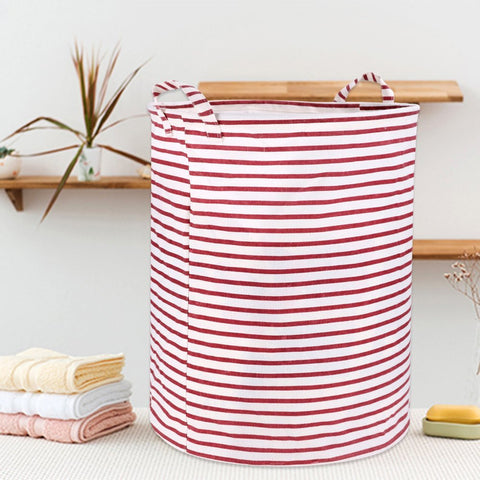 Wimaha White Red Striped Laundry Basket