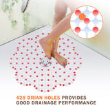 Wimaha  PVC Shower Mats Non Slip Mildew Resistant for Shower Stall,  Red