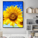"Aritan DIY Paint by Number Kits for Adults Kids Beginners Easy Acrylic on Canvas 16""x20""with Paints and Brushes,Sunflower Blue Sky (Without Frame)"