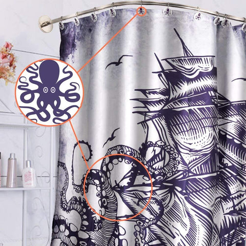 Wimaha Shower Curtain Hooks Octopus Anti Rust Decorative Resin Rings