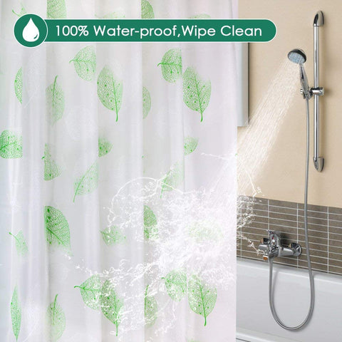 Sosrolo PEVA Shower Curtain Liner Green , 72x72 Inch Eco-Friendly