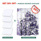 Shower Curtain Clips, Wimaha 4 Pack Shower Splash Guard Self Adhesive Windproof Stop Protect Clips, White