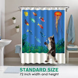 "Wimaha 100% fabric polyester shower curtain, cat want fish, (72 ""* 72"")"