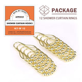Wimaha Rustproof Shower Curtain Rings Hooks,Polished Gold