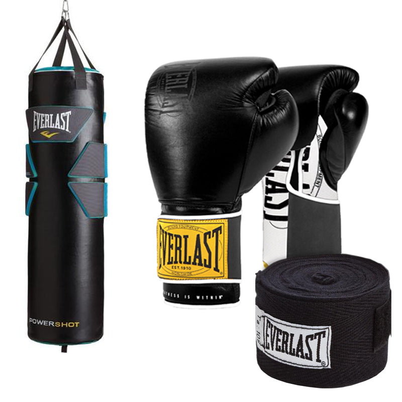 Everlast bag and gloves boxing bundle