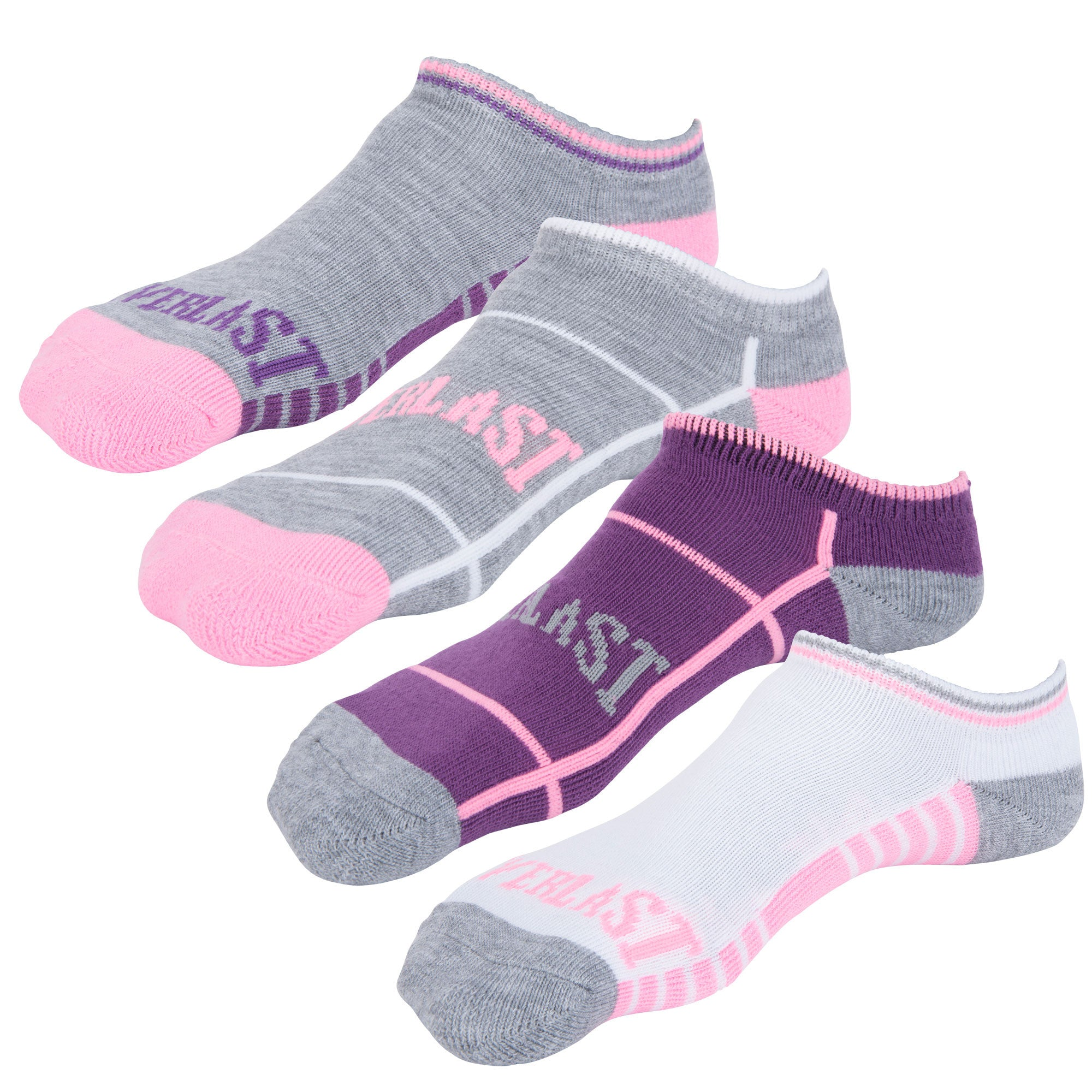 Everlast Girls No Show Socks - 4 Pack