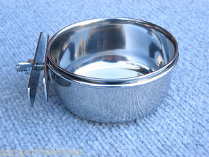 S/Steel 1 x Food Water Dish Bowl Coop Cup Dog Bird Cat 0.6L CLAMP