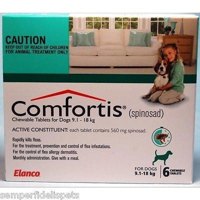 Comfortis For Dogs 9.1-18kg Green 6 Tablets