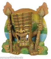 AQUARIUM FISH TANK ORNAMENT TIKI WITH TORCHES