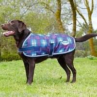 Weatherbeeta Parka 1200D Dog Coat Wine/Navy Plaid Waterproof Super Strong Outer