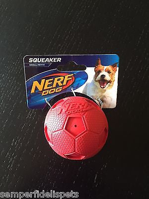Nerf Dog Squeak Ball Soccer Small Red, Blue