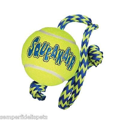 Kong AirDog Squeaker Ball with Rope Medium Dog Toy