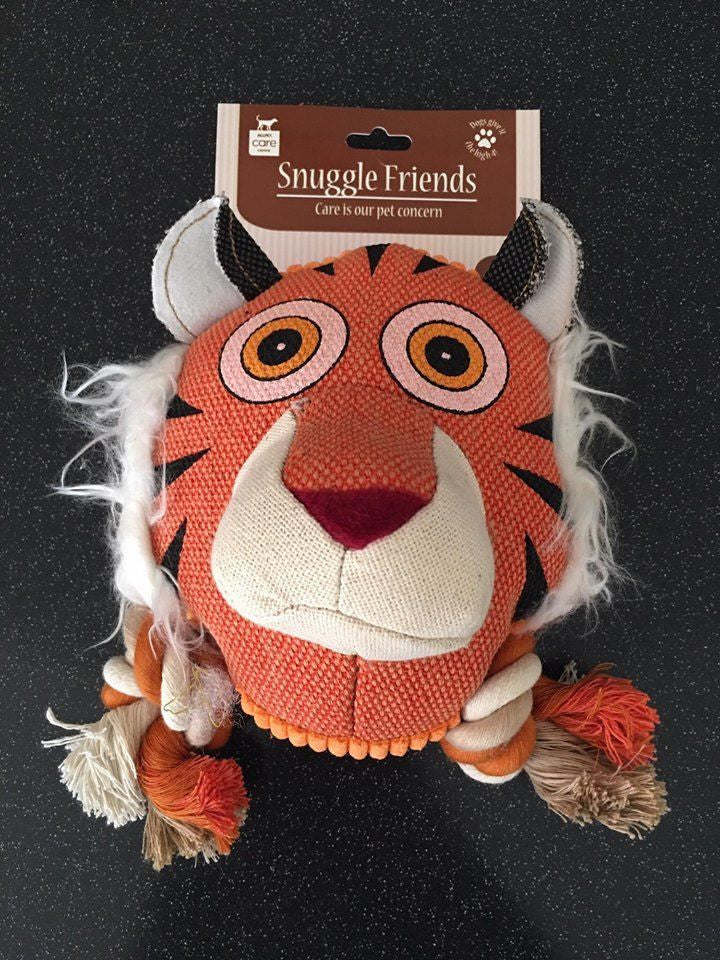 Allpet Snuggle Friends Tiger Squeaky Dog Toy