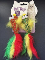 Xmas Christmas Fish Toy with Feathers for Cats (2 pack)