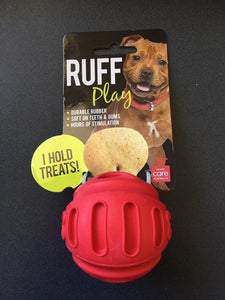 Ruff Play Treat Ball Red Dog Toy Small 2.5""