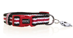 DOOG Harvard Collar Red, Black & White Stripes Dog Collar