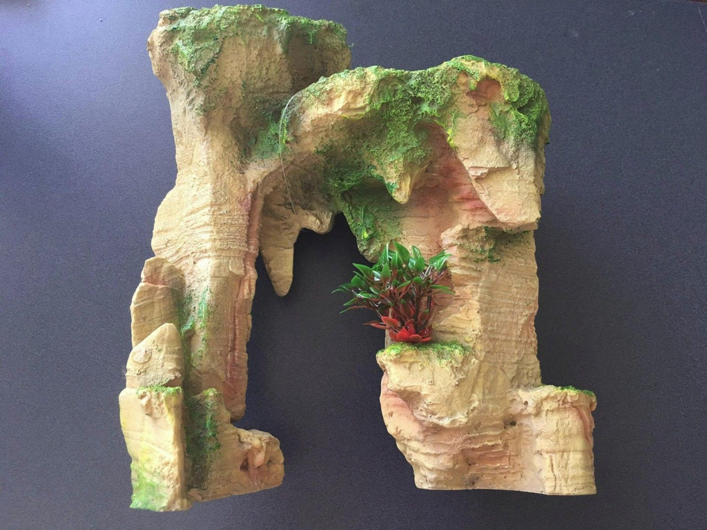 Rock Arch with Plant - Medium Aquarium Ornament