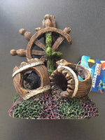 Wheel n Barrels Aquarium Ornament 13x9x17cm