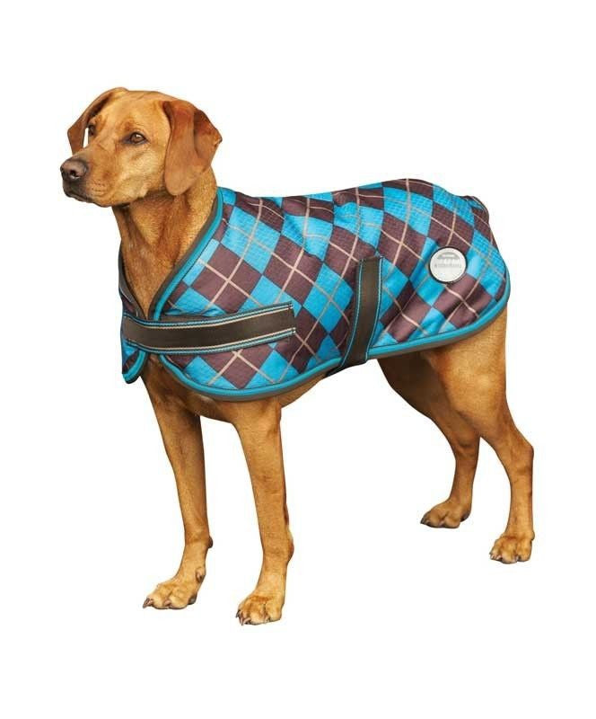 SALE!!Weatherbeeta Parka 600D Dog Coat Rug Wproof Strong Outer Choc/Ocean Argyle
