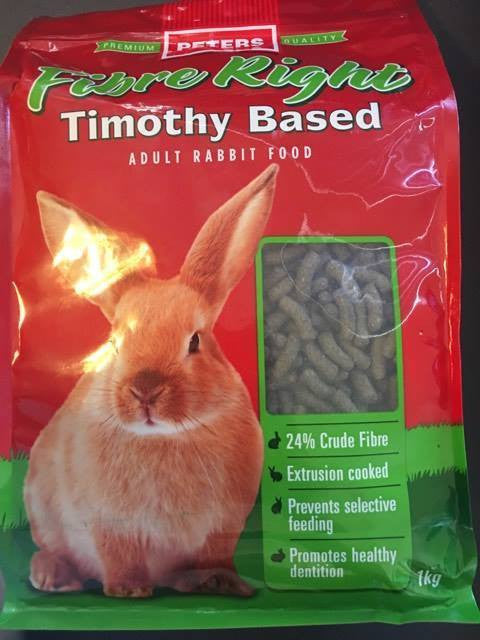 Peters Fibre Right Timothy Based Adult Rabbit Food 1kg
