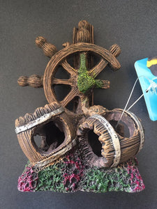 Wheel n Barrels Aquarium Ornament 8x7x12cm