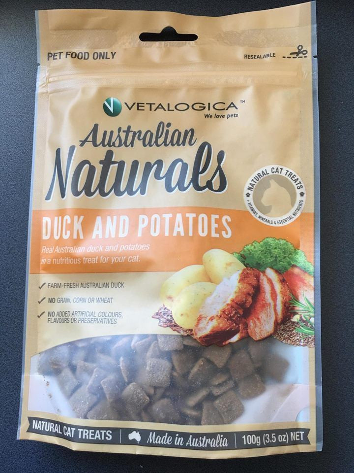 Vetalogica Australian Naturals Duck and Potatoes 100g Cat Treats