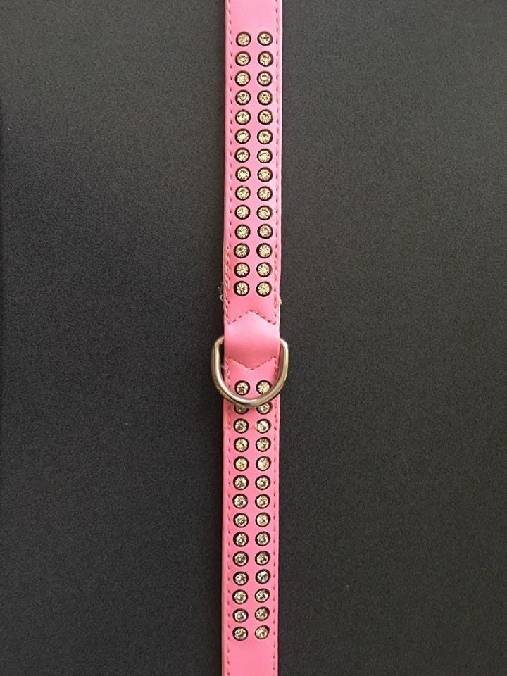 Pink Vinyl Dog Collar with 2 Rows of Jewels 40cm
