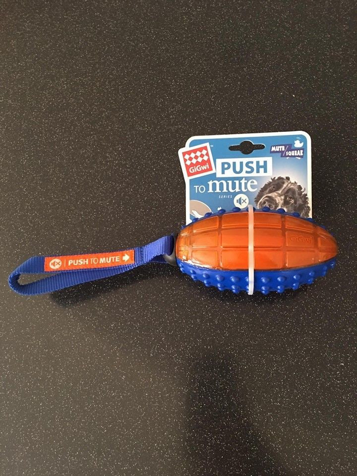 GiGwi Rugby Ball Push To Mute Blue/Orange Dog Toy