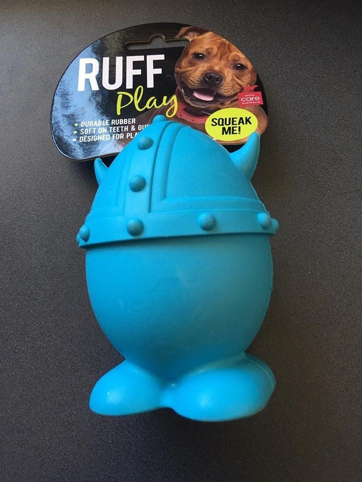 Ruff Play Dog Toy Viking Blue Medium 4""
