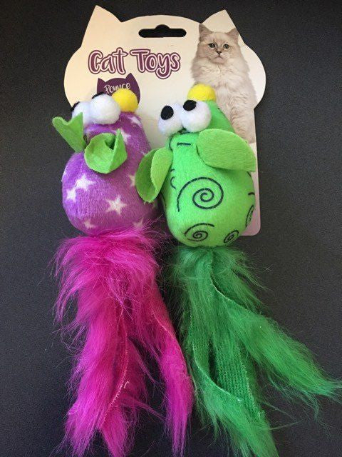 Cat Toy Plush Mouse with Feathers, Purple/Green 2 Pack