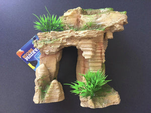 Rock Arch with Plant - Small Aquarium Ornament