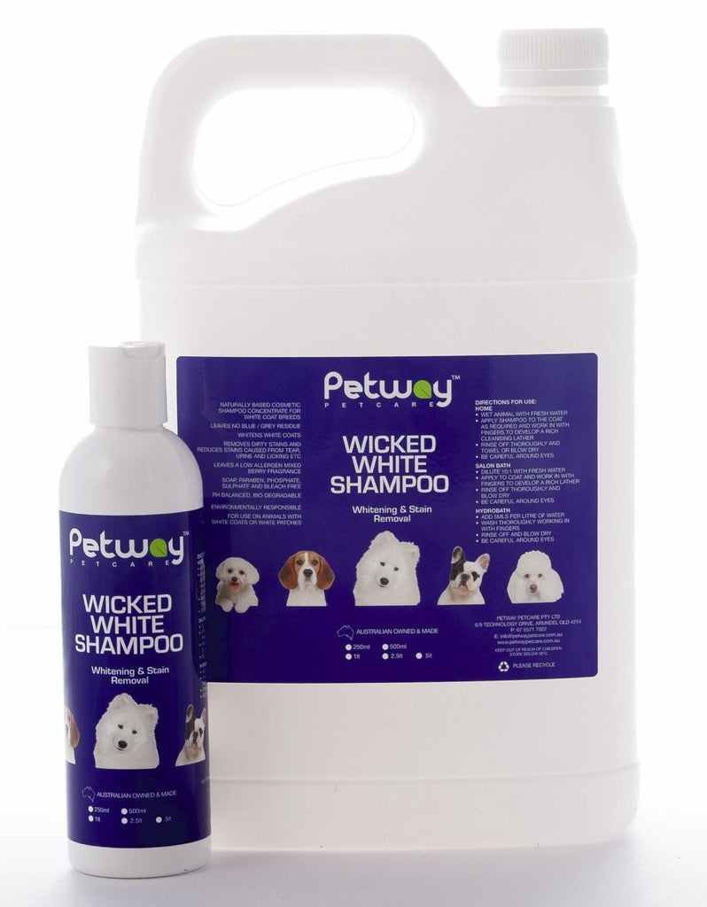 Petway Wicked White Whitening & Stain Removal Shampoo 1L for Dogs & Cats