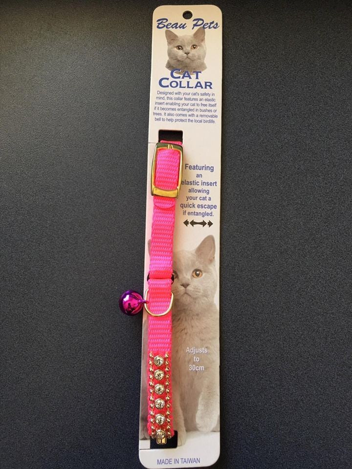 Beau Pets Safety Jewel Pink Cat Collar, Adjusts to 30cm