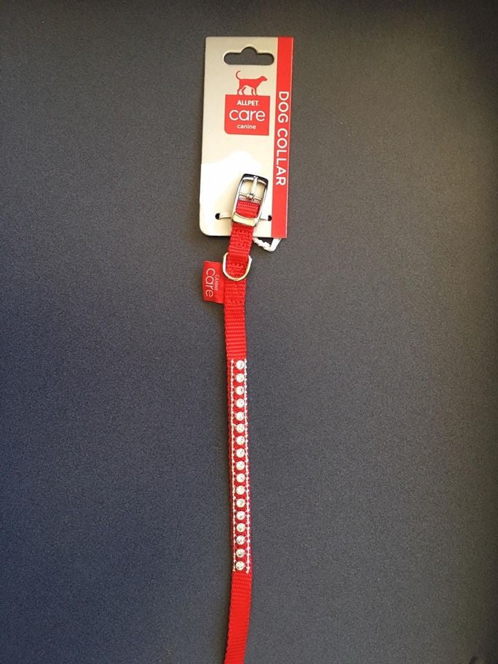 Allpet Red with Diamonds Dog Collar 10mmx35cm