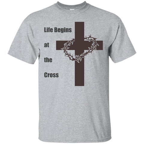 Life begins at the cross. Cotton T-Shirt - babys-closet.com