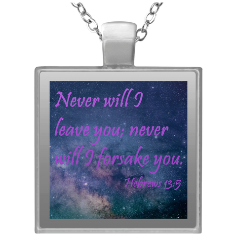 Never will I leave you, Square Necklace - babys-closet.com