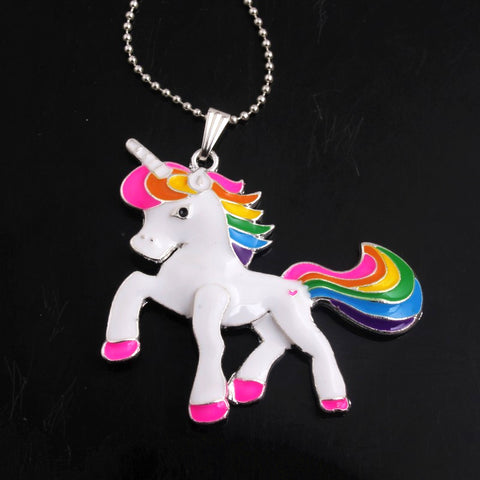 Cartoon Rainbow Unicorn Necklace - babys-closet.com
