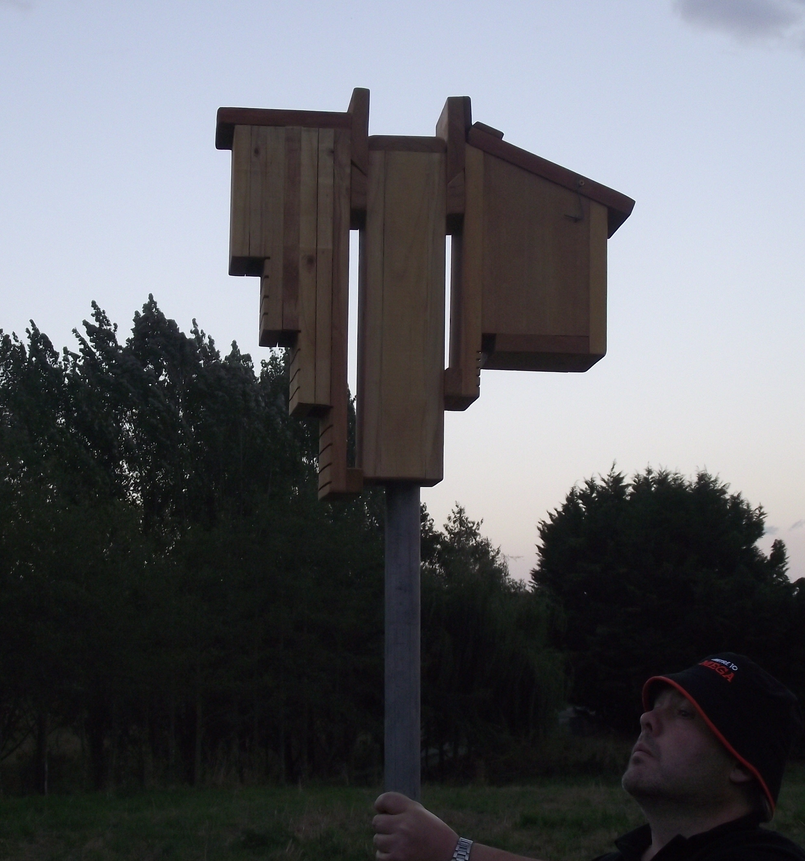 Creative Woodcraft Bat Roosting Boxes Installed using pole mounting bracket