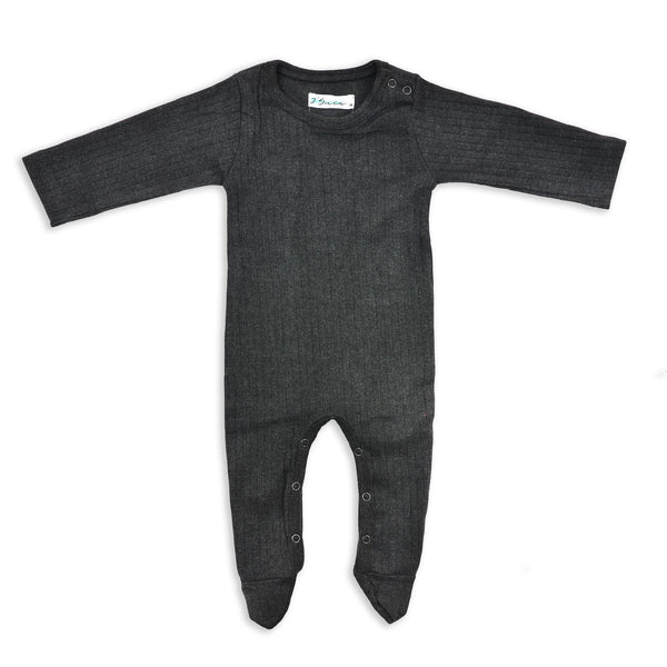 J' suis Charcoal Grey Footie - cutelittlemonster.com