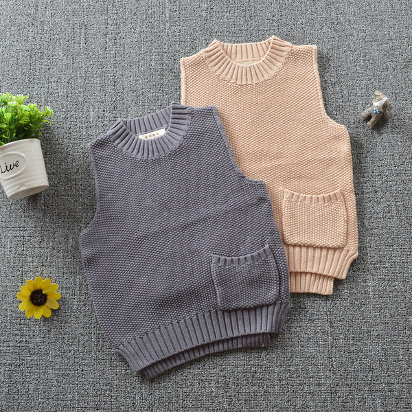 Grey Knit Sweater Vest - cutelittlemonster.com